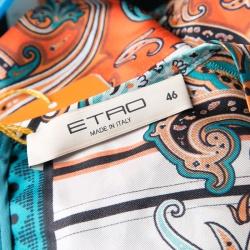 Etro Multicolor Printed Silk Long Sleeve Dress L