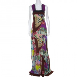 Etro Multicolor Printed Silk Square Neck Maxi Dress L