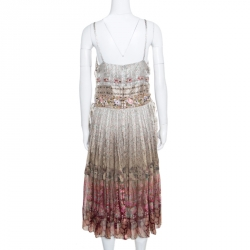 Etro Ivory Rose Floral Printed Silk Sequin Embellished Striated Ombré Sundress L