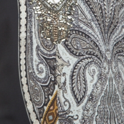 Etro Monochrome Paisley Printed Embellished Maxi Dress L