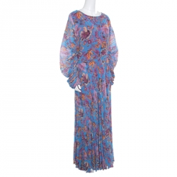 Etro Blue Ornate Floral Printed Silk Lined Pleated Maxi Dress L