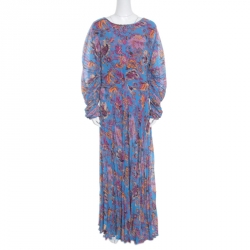 114cfc01e3d Etro Blue Ornate Floral Printed Silk Lined Pleated Maxi Dress L