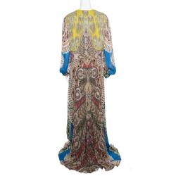 Etro Multicolor Paisley Printed Silk Plunge Neck Maxi Dress L