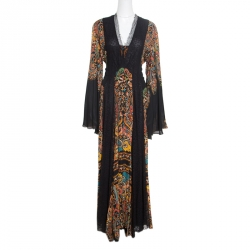 Etro Black Damask Printed Silk Lace Insert Detail V Neck Gown L
