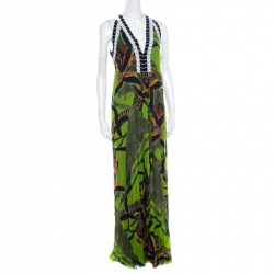 Etro Multicolor Printed Silk Beaded Plunge Neck Draped Back Dress M