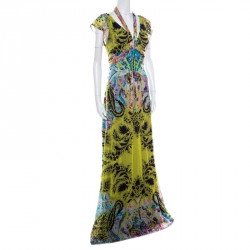 Etro Multicolor Printed Silk Neck Tie Detail Plunge Neck Maxi Dress L