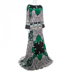 Etro Multicolor Paisley Printed Silk Embellished Cuff Detail Maxi Dress L