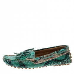 Etro Two Tone Python Leather Bow Loafers Size 36