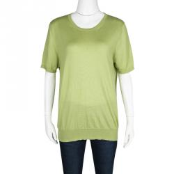 Etro Green Wool Silk Rib Trim Short Sleeve Sweater L