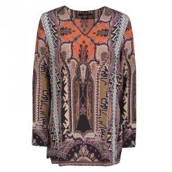Etro Multicolor Printed Silk Long Sleeve Tunic M
