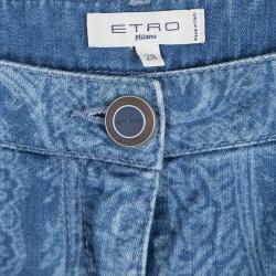 Etro Indigo Faded Effect Paisley Printed Denim Slim Fit Jeans M