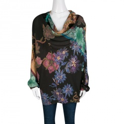 Etro Multicolor Floral Printed Long Sleeve Cowl Neck Top S