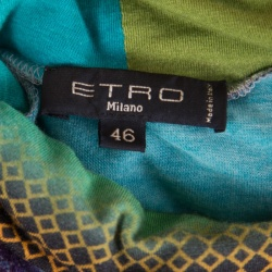 Etro Multicolor Printed Jersey Turtle Neck Long Sleeve T-Shirt L