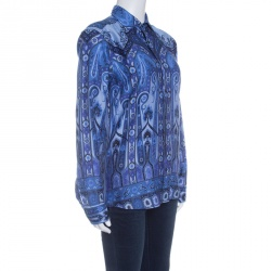 Etro Blue Printed Cotton Long Sleeve Button Front Shirt S
