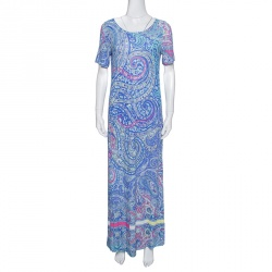 Etro Multicolor Paisley Printed Jersey Maxi Dress M