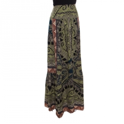 Etro Multicolor Printed Silk Pleat Detail Maxi Skirt S