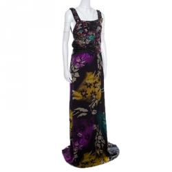 Etro Black Floral Printed Silk Beaded Strap Detail Draped Maxi Dress L