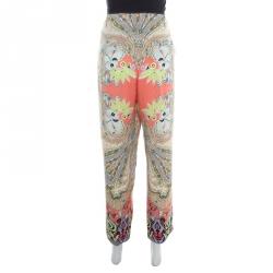 Etro Multicolor Printed Silk Waist Tie Detail Loose Pants M