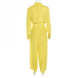 Etro Yellow and Black Polka Dotted Silk Shirt and Pants Set M