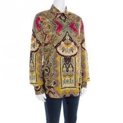 Etro Multicolor Paisley Printed Cotton Stretch Button Front Shirt L