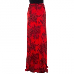 Etro Red Paisley Print Jersey Draped Maxi Skirt S