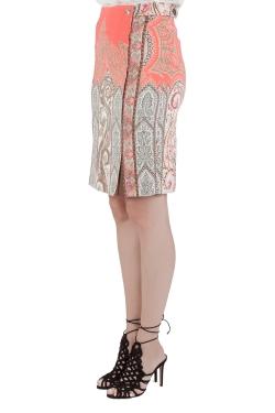 Etro Orange Paisley Print Crepe Paneled Pencil Skirt S