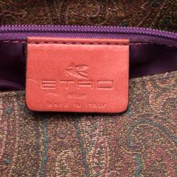 Etro Multicolor Paisley Printed Croc Embossed Leather Shoulder Bag