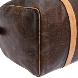 Etro Brown Paisley Printed Coated Canvas and Leather Weekender Bag
