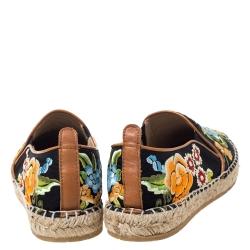 Etro Black/Multicolor Embroidered Fabric Espadrille Flats Size 36