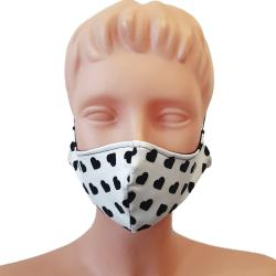 Non-Medical Handmade White Heart Printed Cotton Face Mask - Pack Of 5