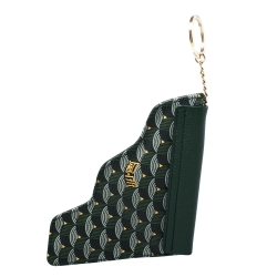 Faure Le Page Green Coated Canvas and Leather Pouch Keychain