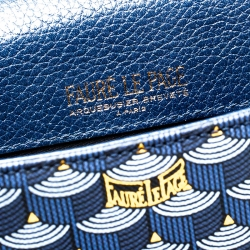 Faure Le Page Blue Leather Calibre 21 Top Handle Bag