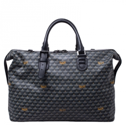 Faure Le Page Grey/Black Coated Canvas Boston Bag