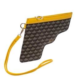 Faure Le Page Yellow Coated Canvas Calibre 22 Wristlet Pouch