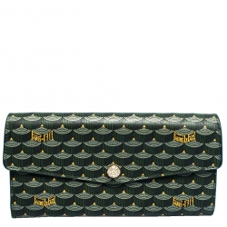 Faure Le Page Green Coated Canvas Continental Wallet