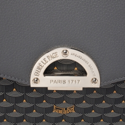 Faure Le Page Dark Grey Coated Canvas and Leather Parade Top Handle Bag