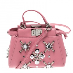 d74cde3d5650 Fendi Pink Leather Micro Crystal Embellished Peekaboo Crossbody Bag