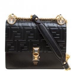1d366fec649c Fendi Black Leather Small Kan I Logo Embossed Shoulder Bag