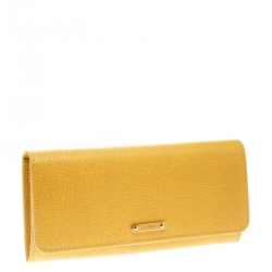Fendi Yellow Leather Crayons Continental Wallet