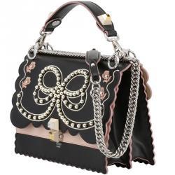 62af7dd2c96a Fendi Black Pink Leather Kan I Shoulder Bag