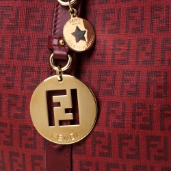 Fendi Red Zucchino Coated Canvas and Leather Superstar Shopper Tote