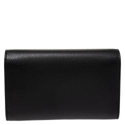 Fendi Black Leather Wallet on Chain
