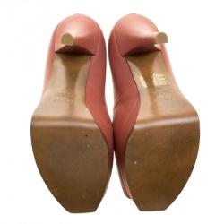 Fendi Salmon Pink Leather Fendista Platform Pumps Size 38
