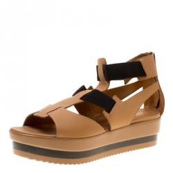 79c113cba Fendi Brown Black Leather Platform Ankle Strap Sandals Size 40