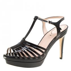 a9d3ca7bc389 Fendi Black Patent Leather T Bar Platform Sandals Size 38