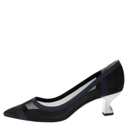 Fendi Navy Blue Mesh And Leather Colibri Pointed Toe Pumps Size 39.5