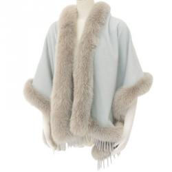 Fendi Two Tone Fox Fur and Cashmere Shawl