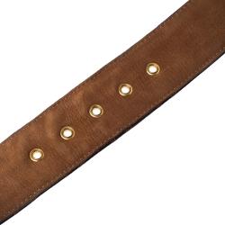 Fendi Tobacco Zucca Canvas and Leather Round Buckle Belt 90CM