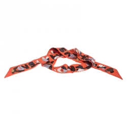 Fendi Orange Printed Silk Twilly Roma Tangerine Bandeau Scarf