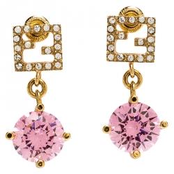 Fendi Gold Tone Crystal Studded Pink Stone Drop Earrings
